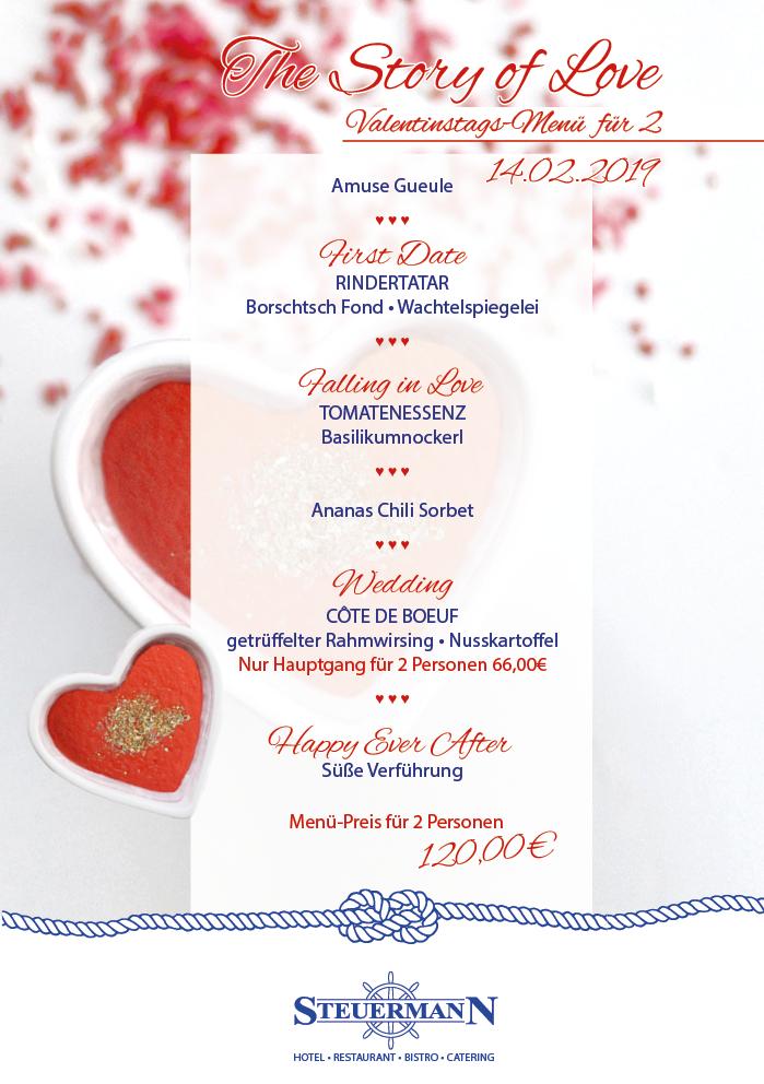 bild menü valentinestag steuermann hotel restaurant